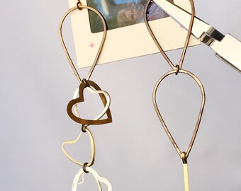 Geometric Heart, Dangle Earrings, Mismatched Mixed Metal Hearts, Minimalist Jewelry, Gift for Her
