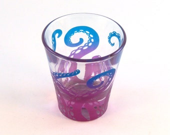 Embracing Tentacles - 3 oz Espresso Shot Glass - Etched and Painted Glassware - Custom Made to Order