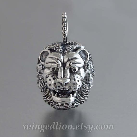 LION'S HEAD designer silver pendant - Ready to ship