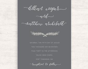 Gray Wedding Invitations / Beautiful Invites / Elegant Wedding / Printable invitations / Print at Home / Shower Invitations