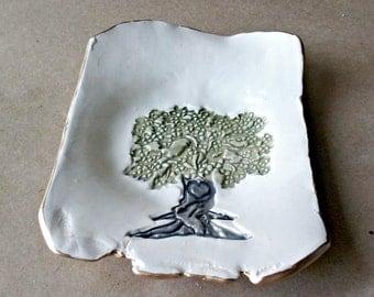 Ceramic Tree trinket Dish edged in gold