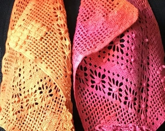 Hand Dyed Vintage Crochet Scarf or Shawl in Pinks, Oranges, and Yellows