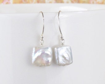White Square Coin Pearl Earrings Sterling Silver Drop DJStrang Dangle Minimalist Boho Chic