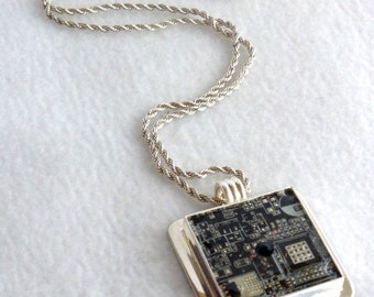 Black Circuit Board Recycled Pendant SN284