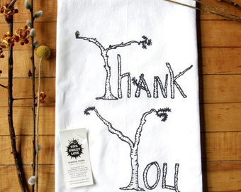Thank You Dish Towel, Rustic Birch Tree Print, Mothers Day Gift, Cotton Flour Sack Hand Printed Tea Towel, Charcoal Grey Ink, Eco-Friendly