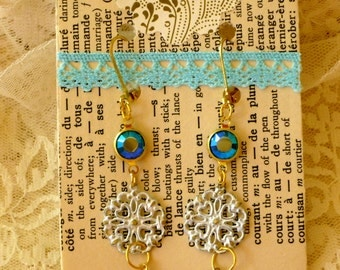 Aqua Crystal and Pearly Drop Earrings