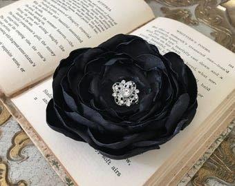 Black Flower Hair Clip.Black Flower Brooch.Pin.Black Flower Headpiece.Wedding.Hair Accessory.Black Flower Hair Piece.Bridesmaid Hair Piece