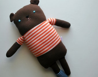 One Sock Brown Bear Plushie in an Orange Striped Tee--made from recycled tees