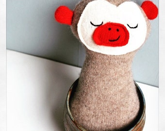 Cashmere Tan Sock Monkey Look-Alike Beddy Bye Beast--Baby Plushie