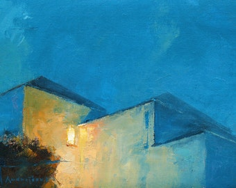 Night Lights no 2, cityscape, oil painting