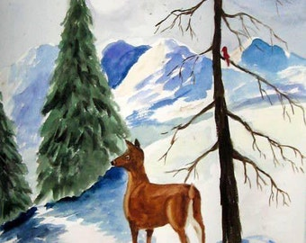 Original Watercolor painting Deer in the Winter Forest