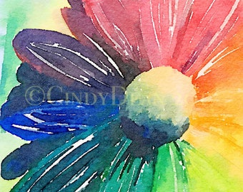 Rainbow Daisy Watercolor Fine Art Print