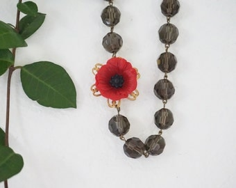Statement Necklace Red Necklace Poppy Necklace Red Poppy Necklace Grey Necklace Christmas Gift Women Gift Women Jewelry Crystal Necklace