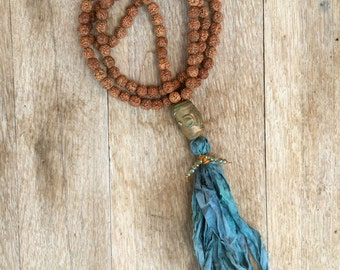 Rudraksha and Teal Sari Tassel BoHo Mala inspired Necklace