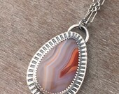 Reserved - do not purchase if this is not for you - custom Laguna agate charm necklace and earring set