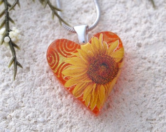 Petite Sunflower Necklace, Sunflower Jewelry. Dichroic Jewelry, Fused Glass Jewelry, Heart Necklace,  Sunflower Pendant, 111016p101