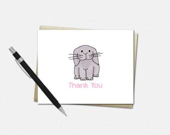 Floppy Ear Bunny Thank You Card - Floppy Ear Bunny - Party Thank You Card - Floppy Ear Bunny Thank You Card - Set of 10 - Thank You Cards