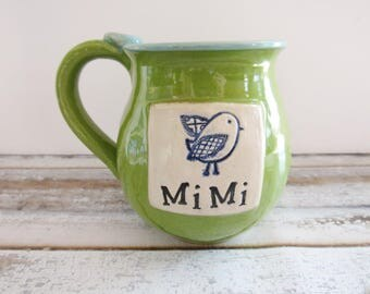 Mimi Mug - 16 oz - Mug for MiMi with bluebird - Mug with thumb rest - ready to ship