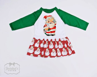 Santa Christmas Dress - Infant Christmas Dress - Retro Christmas Dress - Baseball Green Toddler - Custom Size 6 month to Girl's 6