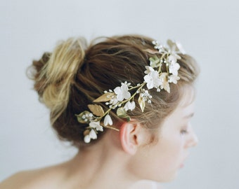Bridal clay flower headpiece - Floral garden headpiece - Style 748 - Made to Order