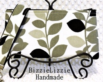 Wristlet Strap Clutch Bag Purse, Ladies Handmade Detachable Key Fob Clutch, Minimalist Monochrome Leaves Stripe
