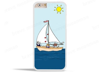 Nautical iPhone 6 Case Sailor Cats iPhone 5 Samsung Galaxy Note 5 S5 S6 Active Case