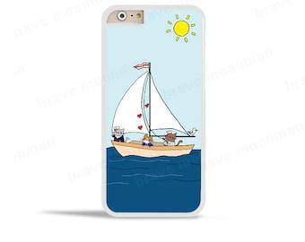 iPhone 6s Case Nautical Cats  Cute Cat iPhone 7 Case Sailboat Samsung Galaxy S7 Case Sailor Cat