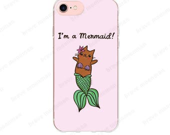 Mermaid iPhone 7 Case I'm a Mermaid Gift Mermaid Cat Phone Case Clear iPhone 6s Case Merkitty