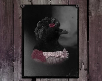 Animal Art, Crow Lady, Raven, Whimsical Blackbird, Goth, Distressed Image, Aged, Bird, Rook Print, Photograph, Victorian Crow - Crow Lady