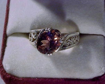 8 X 10mm PINK TOURMALINE Ring  sterling silver SZ 6.5