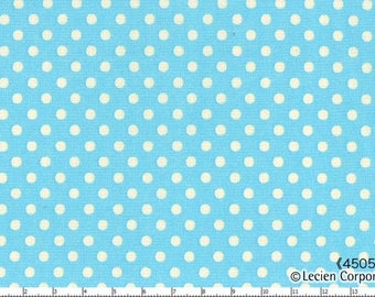 HALF YARD - Lecien - Special Edition Color Basic - 4505-SL  White Small Dots on Blue - Japanese Import Fabric