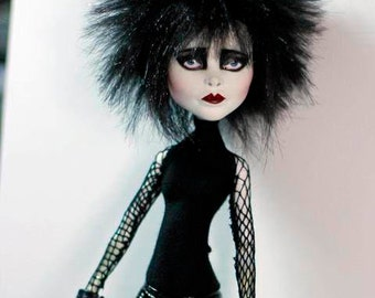 COMMISION SLOT - Goth Rocker Siouxsie Tribute OOAK Art Monster Doll High Class Punk Spectra Repaint by Refabrications