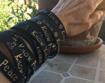 Know Yoga * Know Peace Rubber Bracelet * Yoga Bracelet & Rubber Bracelet