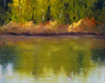 River Landscape Painting, Original Oil, 5x7 Canvas, Trees, Water Reflection, Rural Outdoor Scene, Small Wall Decor, Country Art