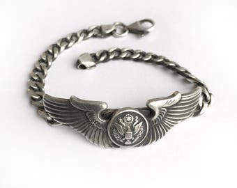 Vintage World War II Air Force Pilot's Wings Pin Bracelet Womens Smaller Size Two Inch Wings Sterling Chain