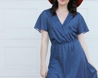 Vintage Navy Blue Dress. Vintage Polka dot dress. Vintage navy blue polka dot dress. Retro polka dot dress. Blue white polka dot dress