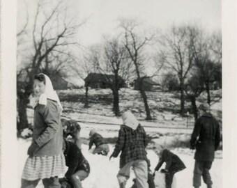 vintage photo 1954 Snowball Christmas Children Winter Fun