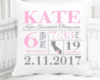 Girls Birth Announcement Pillow - Birth Stats Pillow - Birth State - Baby Girl Gift - Bubblegum Pink and Grey