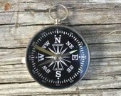 Vintage Working compass. Black Glass face. Silver pendant. Vintage jewelry. Steampunk men jewelry  nautical camping e86
