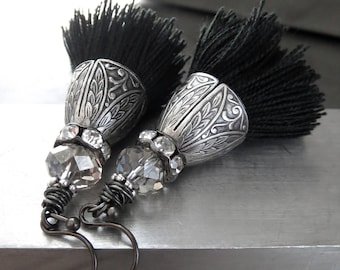 Black Tassel Earrings with Ornate Vintage Style Antiqued Silver and Rhinestone Crystal Accents, Boho Jewelry, Tassel Jewelry