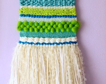 SALE! 30% OFF! SMALL Woven Wall Hanging #14 (blue/green) - tapestry fibreart wallart loom weaving homedecor spring wool roving yarn