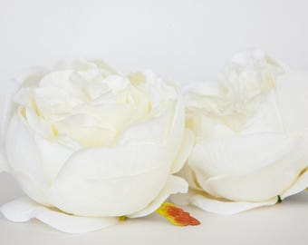 Large Fully Bloomed Stunning English Rose in White - Artificial Flowers - ITEM 01111