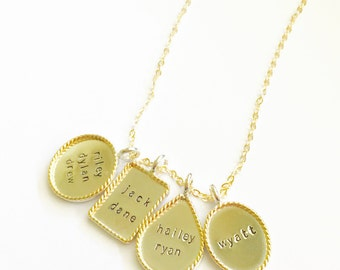 Personalized Oval  Rectangle Teardrop & Circle Pendant Necklace - Twisted Gold Filled Rims - Stamping on BOTH Sides