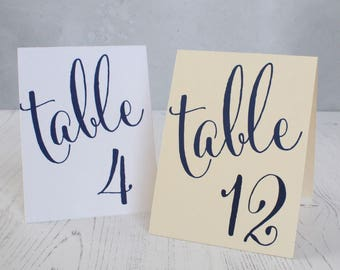 Navy Blue Wedding Table Number Signs - Tented Double Sided Table Cards - Wedding Table Cards - Folded Table Numbers - Nautical Table Numbers