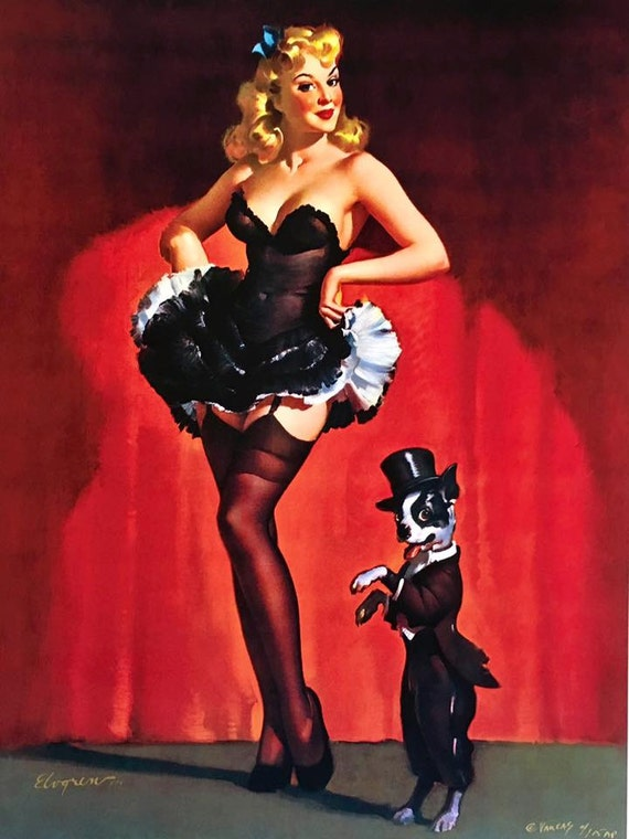 Lucky Dog SaLe! ELVGREN pinup showgirls BURLESQUE Pin-Up Boston Terrier  lingerie stockings, Crinoline, nylons  Large Canvas Giclee  PINUPS