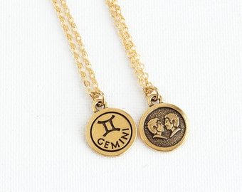 Gemini Necklace, Personalized Zodiac Necklace, Custom Zodiac Jewelry,  Astrology Pendant, Gift For Daughter