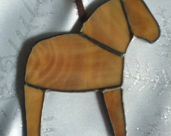 Caramel Brown Dala Horse Ornament, Swedish Christmas Ornament, Tiffany Style Stained Glass Horse, Swedish Custom