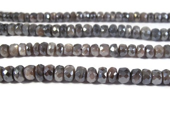Mystic Moonstone Beads, Gray AB Coated Faceted Rondelles, 6.5 Inch Strand, 5.5mm - 8mm, Natural Gemstones for Making Jewelry (R-Mo1a)