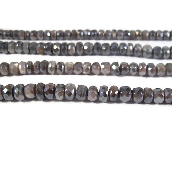 Mystic Moonstone Beads, Gray AB Coated Faceted Rondelles, 6.5 Inch Strand, 5mm - 6.5mm, Natural Gemstones for Making Jewelry (R-Mo1a)