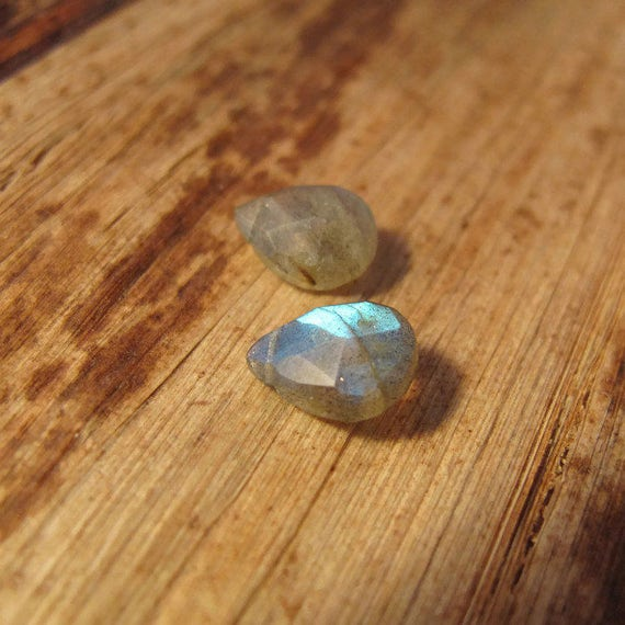 Two Labradorite Beads, Calibrated Faceted Gemstones for Making Jewelry, 9mm x 7mm, Natural Gemstones with Flash (B-Lab4b)